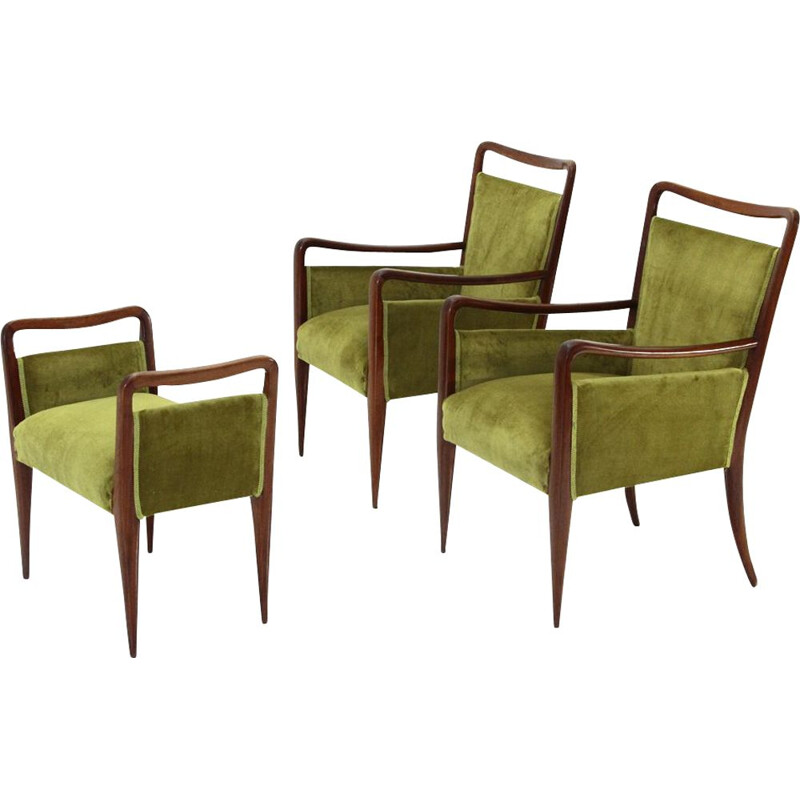 Pair of Italian green velvet armchairs with ottoman, 1940