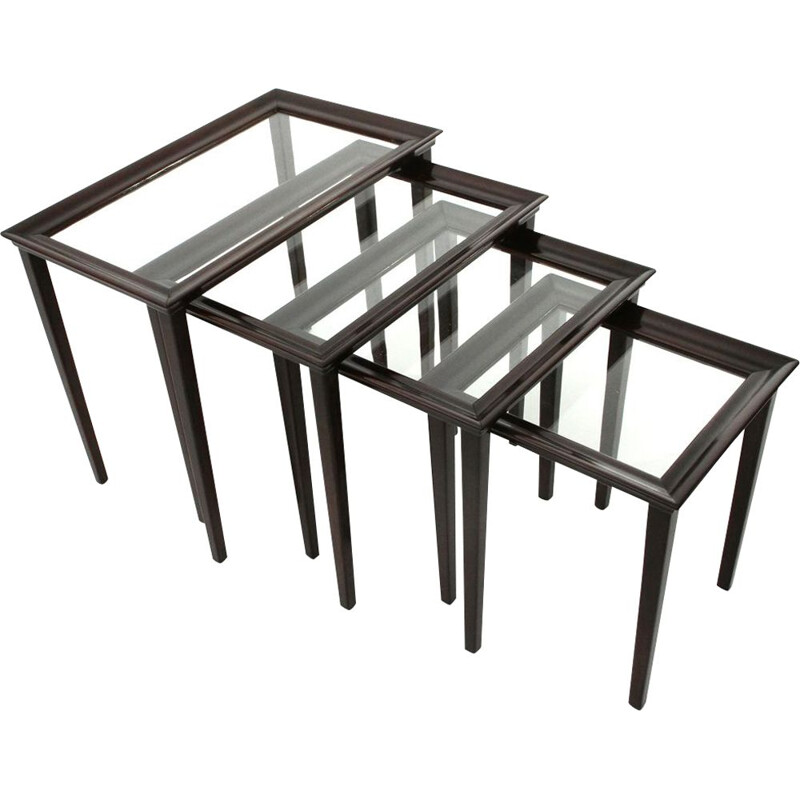 Set of 4 nesting vintage tables in wood and glass,Italian 1940