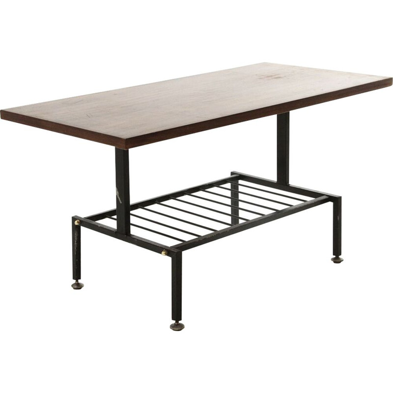 Black painted metal vintage coffee table with teak top, 1950
