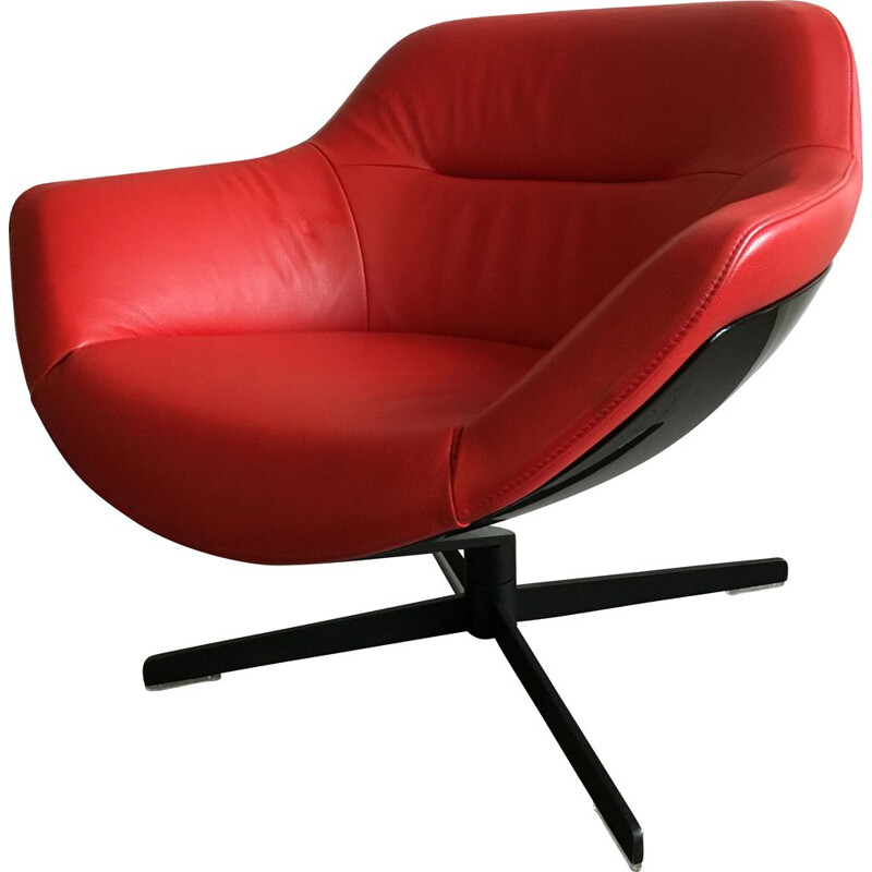 Vintage Red leather lounge chair Cassina Auckland