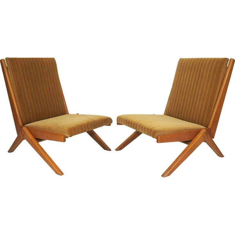 Pair of brown  vintage armchairs, 1970
