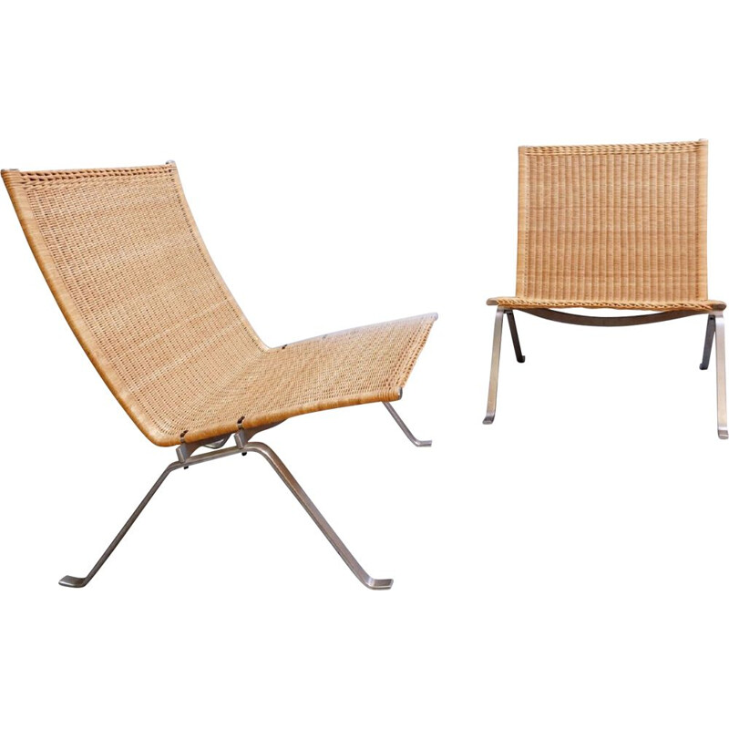 Pair Of Vintage 'PK-22' Steel And Wicker Armchairs, by Poul Kjaerholm and Fritz Hansen, Denmark 1990