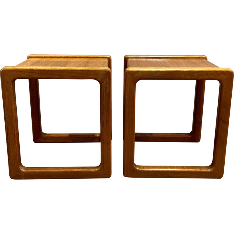 Pair of 1Scandinavian vintage side tables or bedside tables, 1950