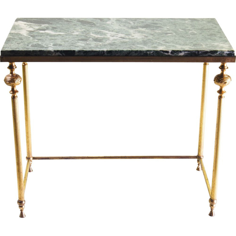 Vintage table green Marble brass Italian 1960