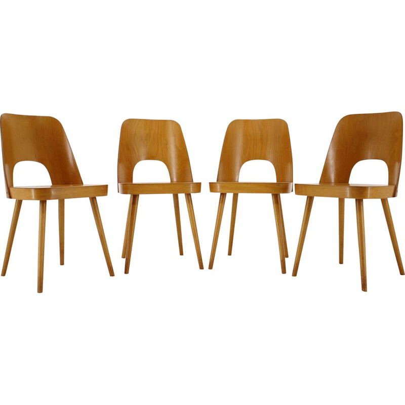 Set of 4 Vintage Beech Dining Chairs by Oswald Haerdtl for TonThonet, Czechoslovakia 1960s