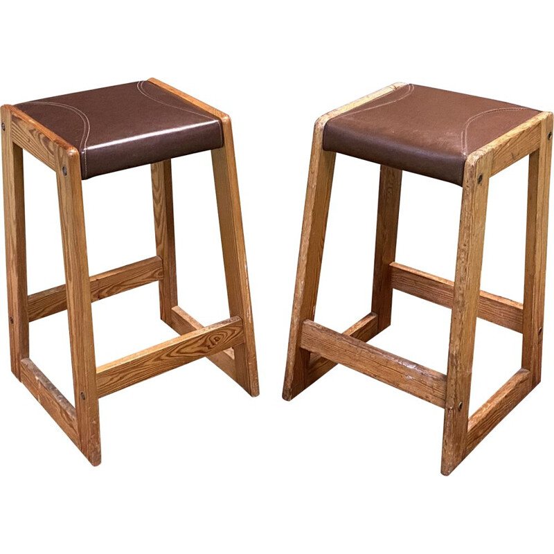Pair of vintage pitch pine high stools 1950's