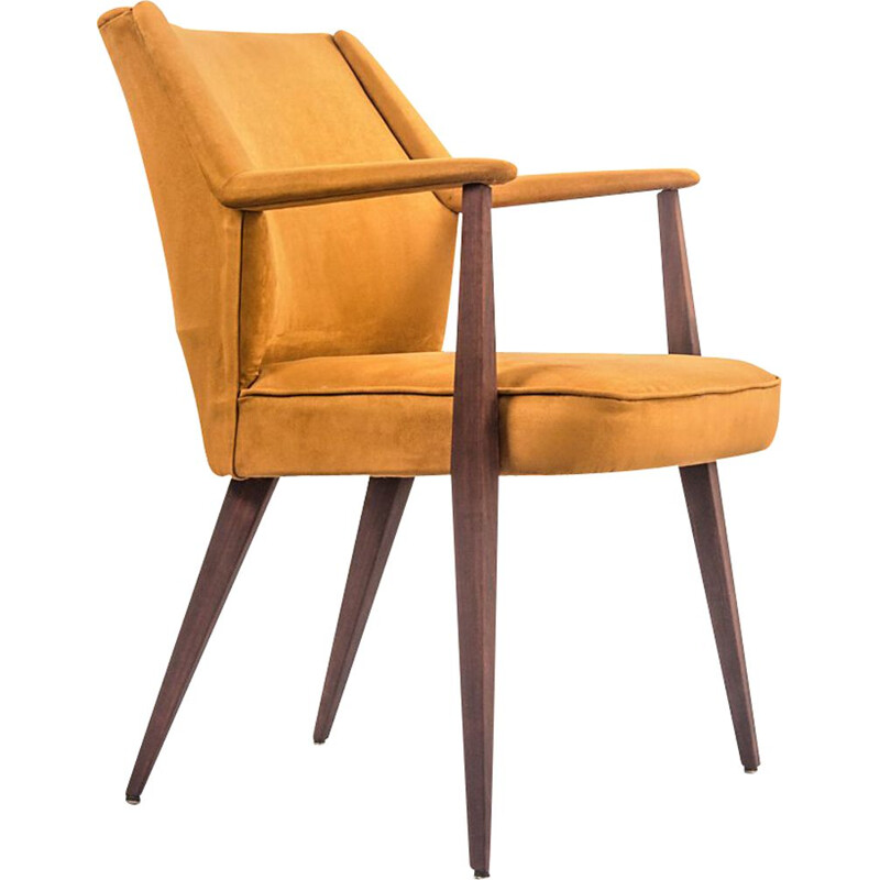 Vintage teak and Baghera fabric armchair