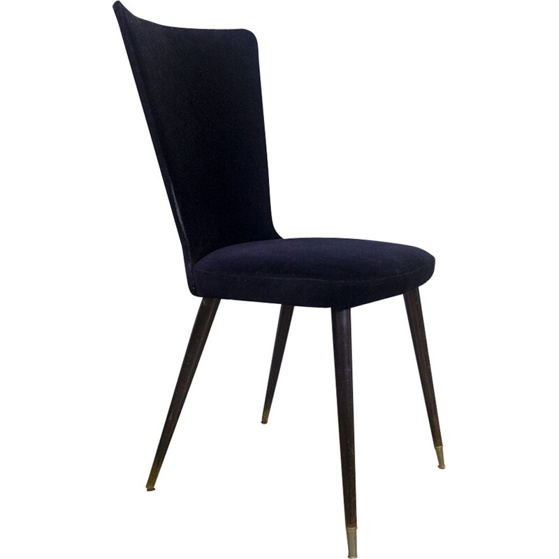 Vintage Side chaire in Black Velvet, French 1960s