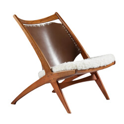 Krysset low chair in leather and sheepskin, Frederik KAYSER - 1950s