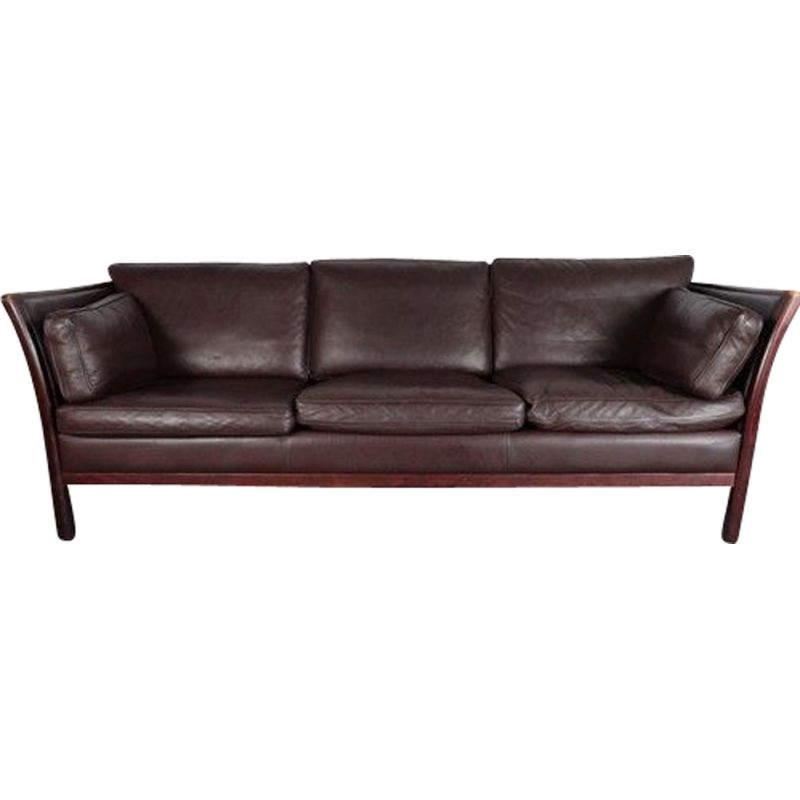 Vintage Stouby Chocolate Brown Leather Sofa