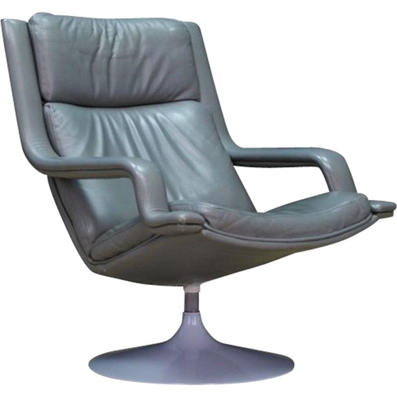 Vintage armchair Grey leather by Geoffrey Harcourt 1970