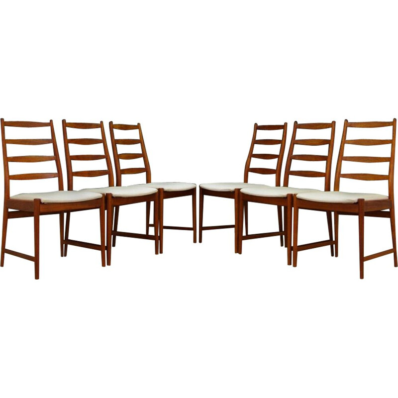 Lot of 6 vintage teak chairs for Vamo Sønderborg Scandinavian 1970