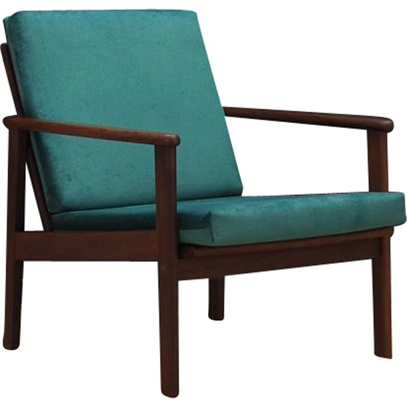 Vintage armchair in teak and green velvet Danish 1970s