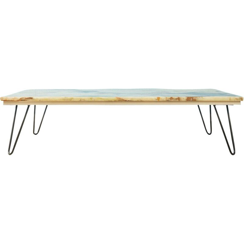 Vintage Coffee table with a marble top in shimmering beige tones and brown accents 1960s