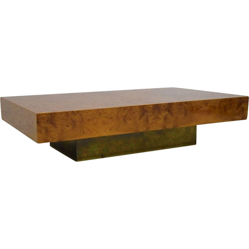 Vintage elm burl coffee table Roche Bobois 1970