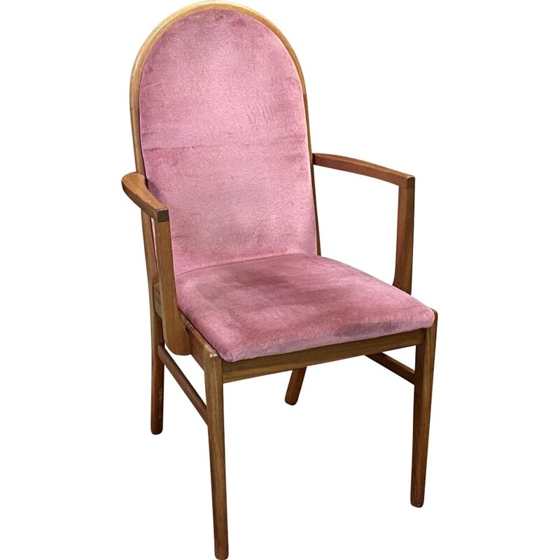 Pink vintage teak office armchair - 1970