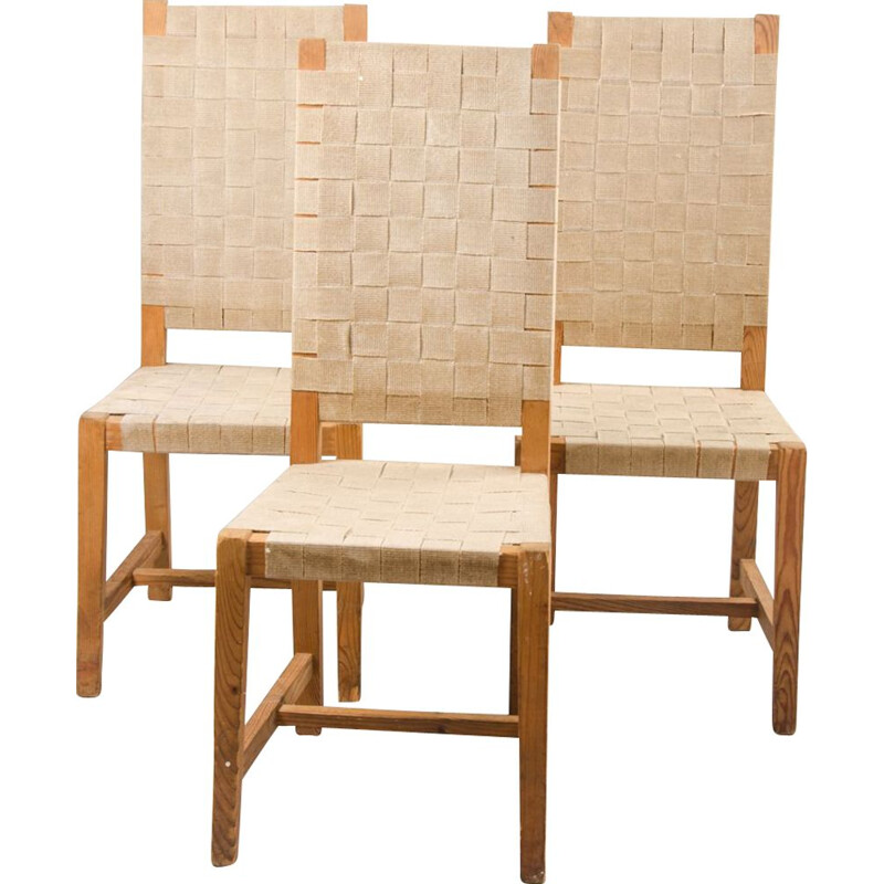 Set of 3 vintage dining chairs in Pine and Straps, France, 1950