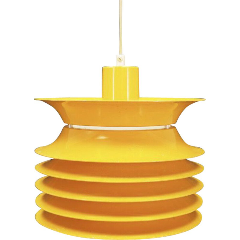 Vintage pendant lamp in yellow plastic scandinavian 1970