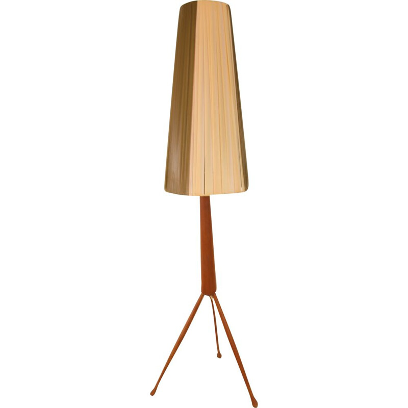 Vintage teak wooden tripod table lamp Danish