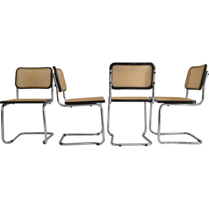 Set of 4 vintage Cesca chairs by Marcel Breuer, Itlaly