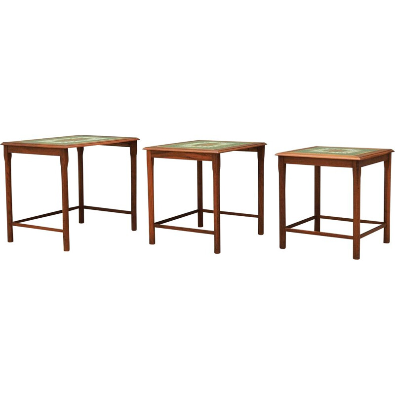 Set of 3 vintage teak nesting tables, Danish 1960s