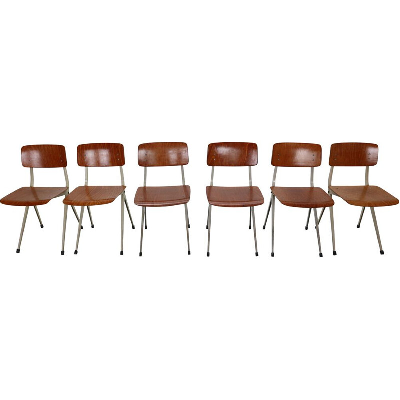 Set of 6 vintage S201 Industrial Chairs Ynske Kooistra for Marko Holland 1950s