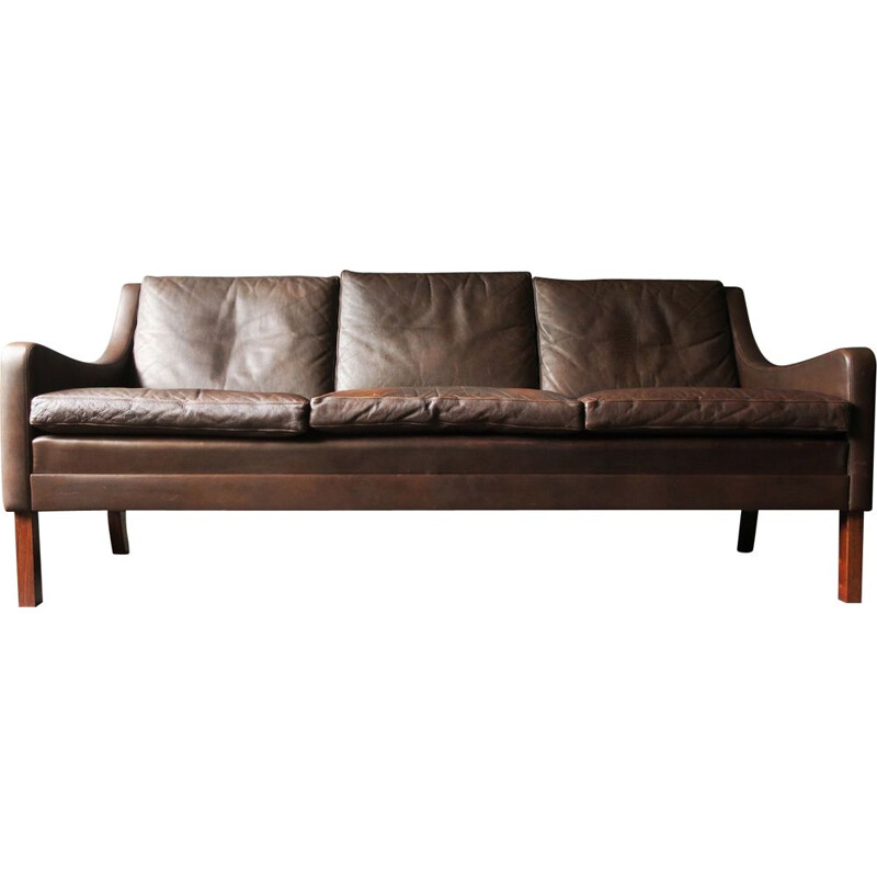 Mid-Century 3-Seater Sofa in Dark Brown Leather, Rosewood Feet Danish