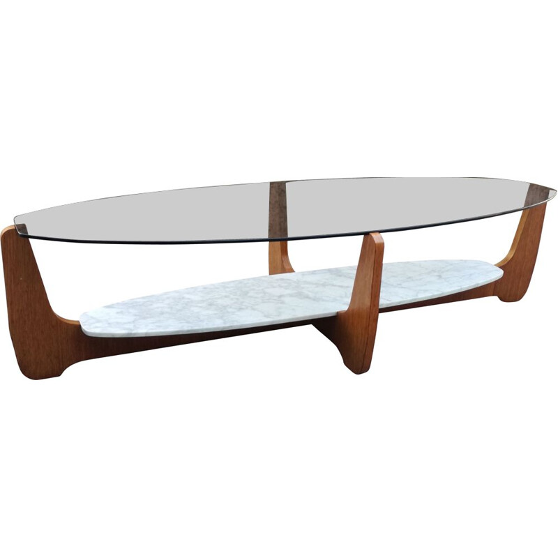 Vintage oval coffee table by Hugues Poignant for D.A.D. 1965