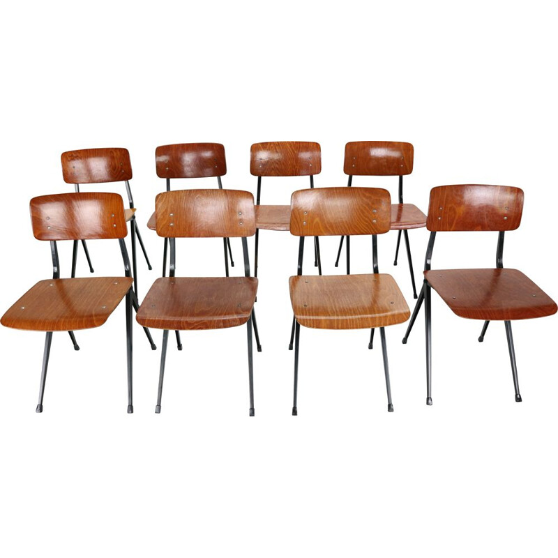 Set of 8 vintage S201 Industrial Chairs, Ynske Kooistra for Marko Holland 1950s