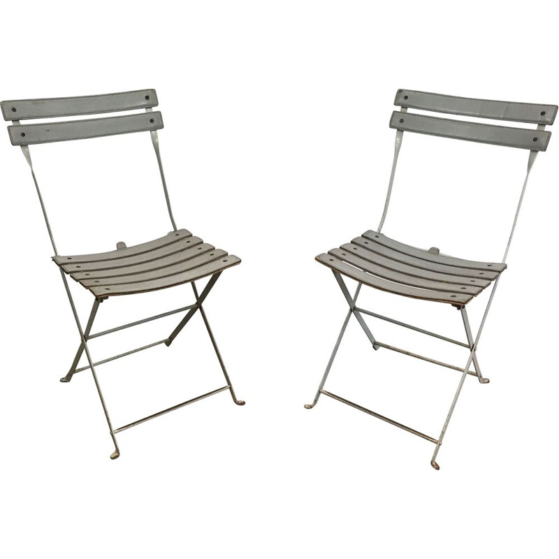 Pair of vintage Folding Chairs White Lacquered Metal  1970's