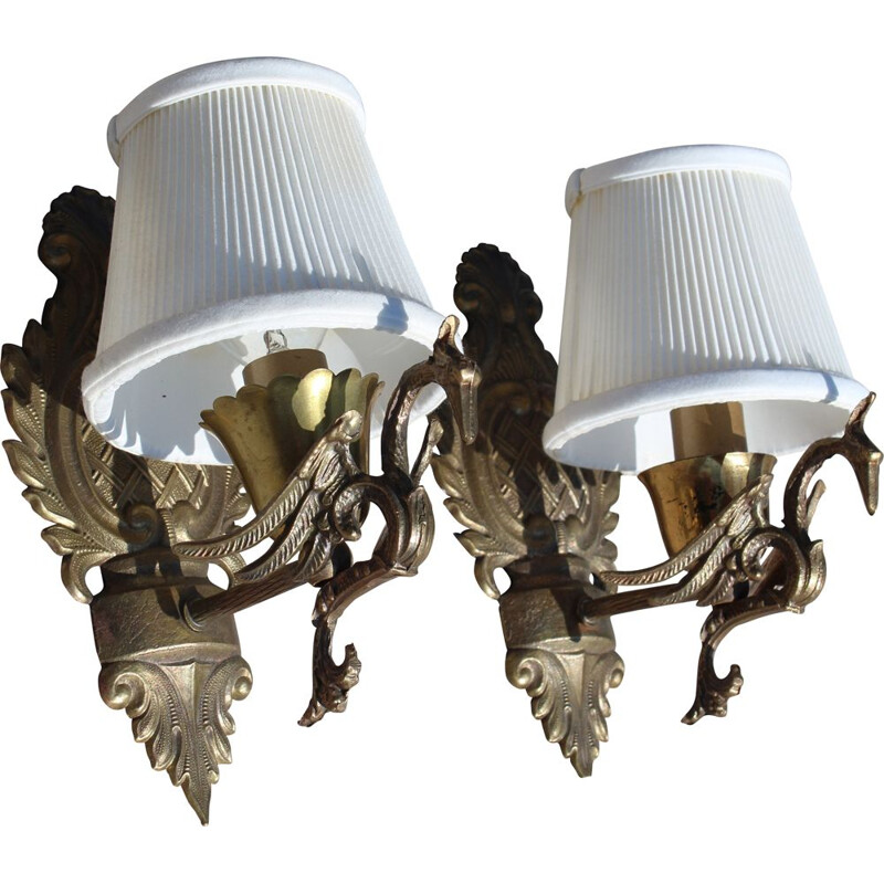 Pair of vintage sconces in bronze 1950