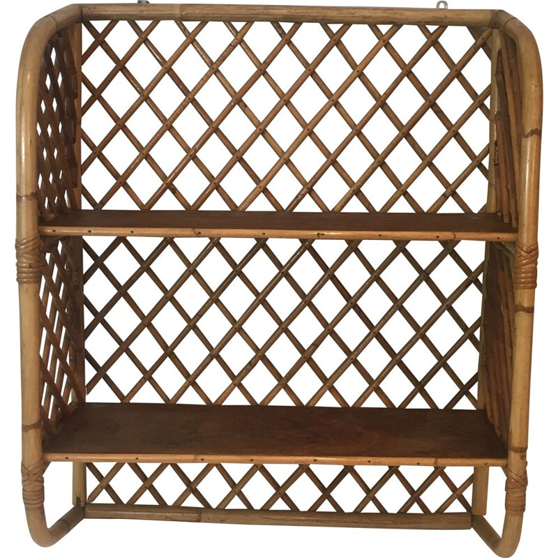 Vintage Rattan Wall Shelf 1950