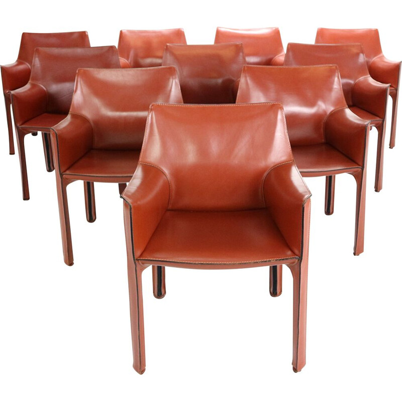 Set of 10 vintage Cab 413 leather dining chairs by Mario Bellini for Cassina Italy 1980s