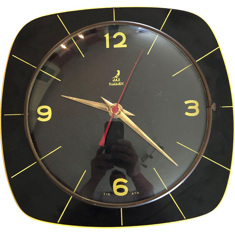 Vintage formica wall clock by Jaz 1960