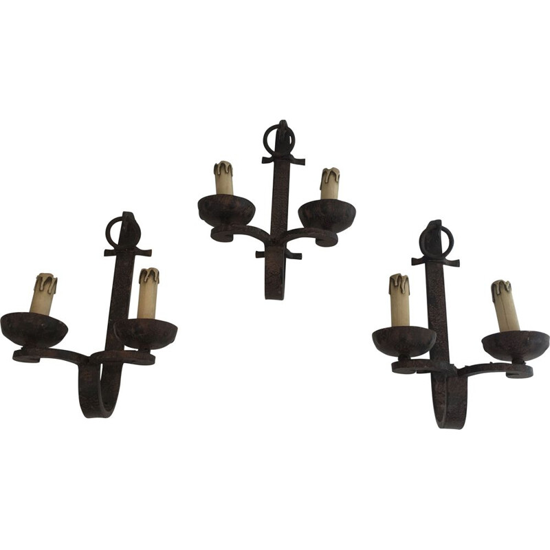 Set of 3 vintage Wrought Iron Wall Sconces 1950