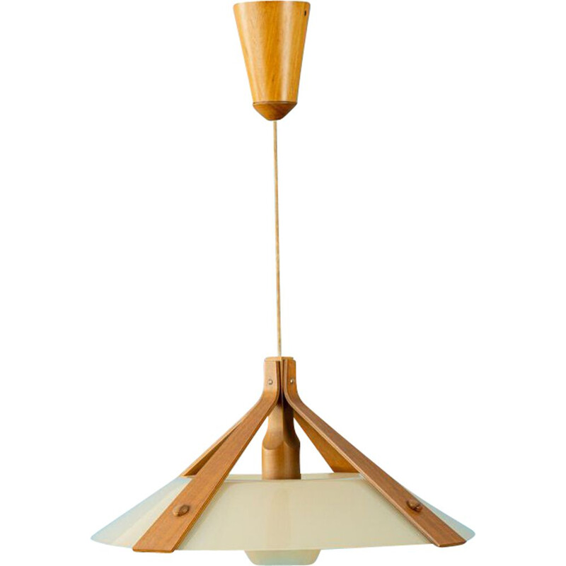 Vintage Ceiling lamp Plastic lampshade on a teak Scandinavian  1960s