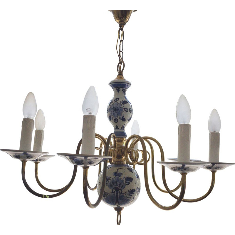 Vintage Chandellier with Ceramic, Germany, 1960s
