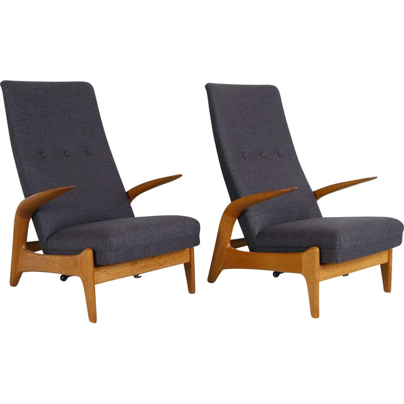 Pair Midcentury Rest Lounge Chairs Oak + Grey Rock 'n' by Rastad & Relling 1960s