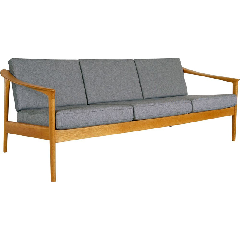 Midcentury 3-Seat Oak and Grey Sofa by Folke Ohlsson for Bodafors Swedish 1960s