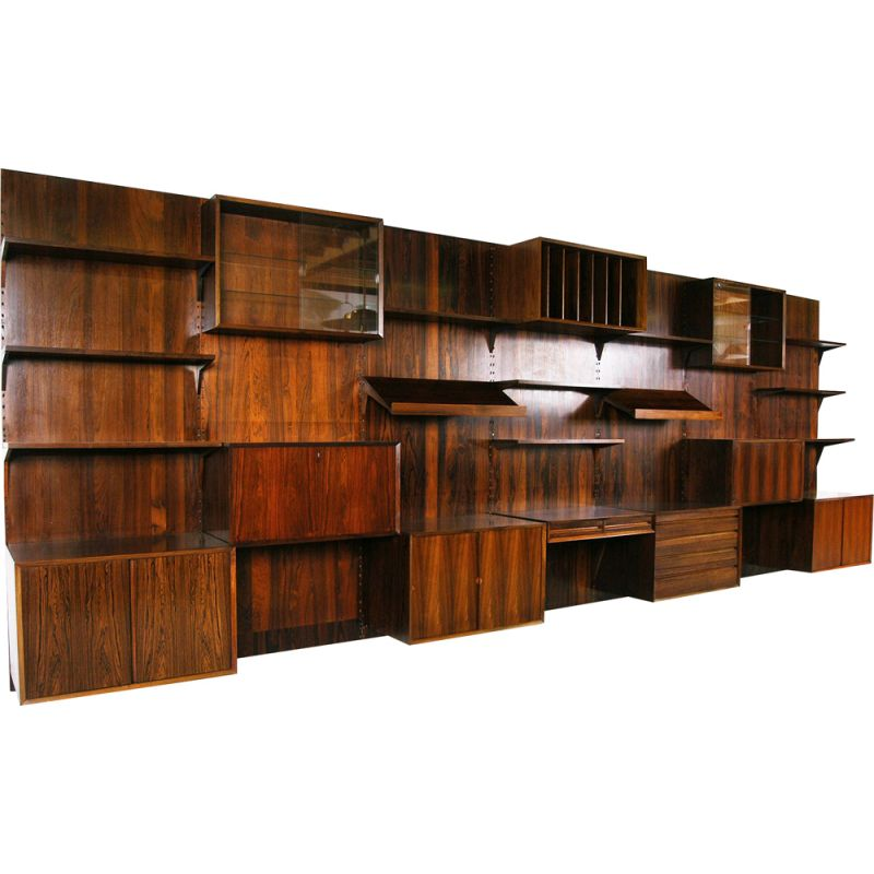 Vintage 'Cado' Wall System by Poul Cadovius Midcentury Office Shelving Rosewood Danish 1960s