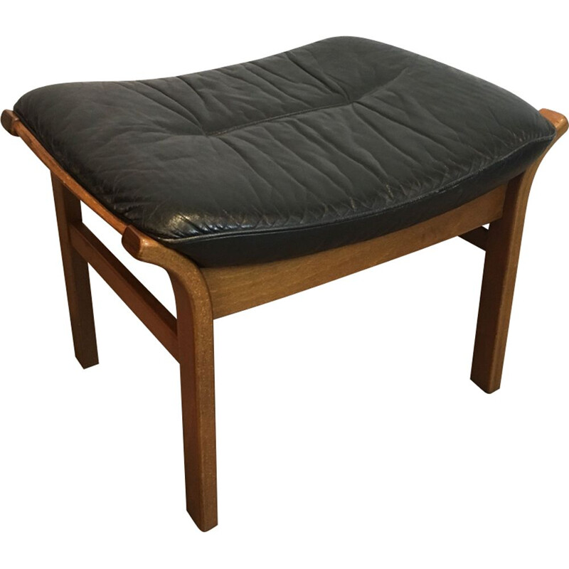 Vintage Wooden Stool with Black Leather Seat 1970