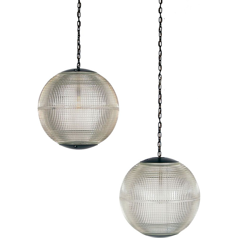 Extra Large Pair Midcentury Parisian Glass Globe Ball Pendant Lights by Holophane French