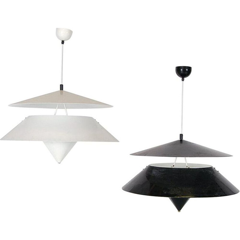 Pair of vintage Black + White 'Kalaari' Ceiling Pendants by Vico Magistretti for Oluce Italian 1970