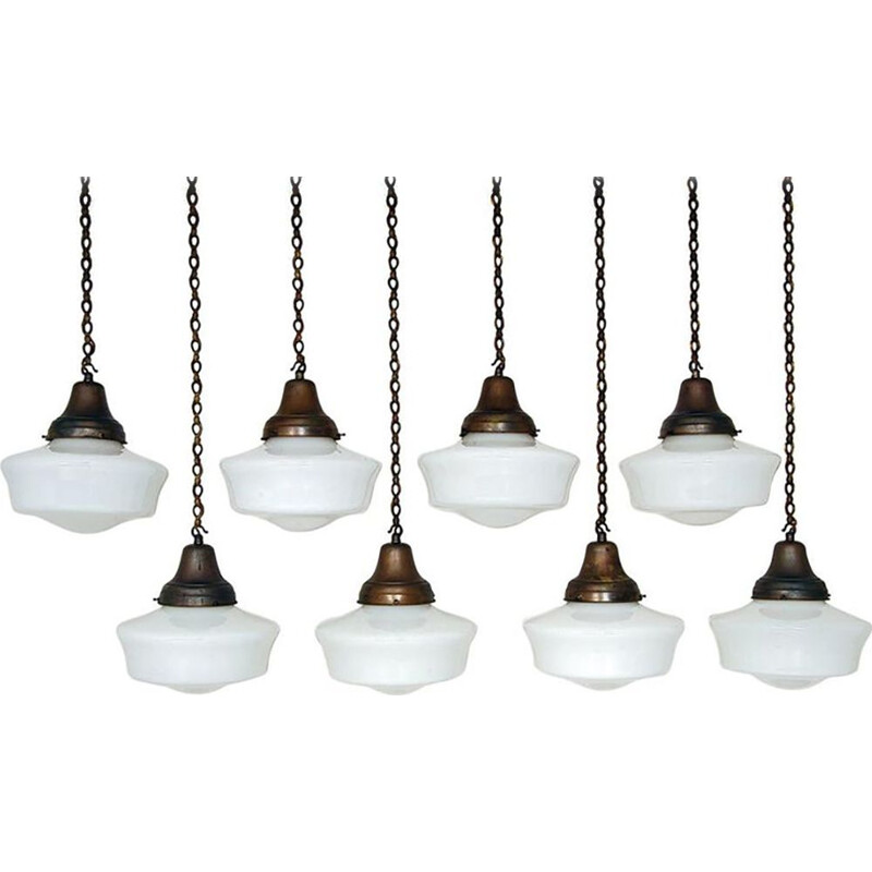 Set of 8 vintage White Opaline Glass Copper Brass Chapel Lights Industrial Art Deco 1930