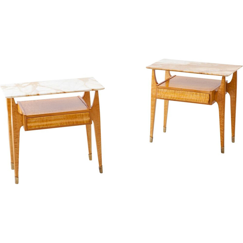 Pair of Bedside Tables, Italian 1950s