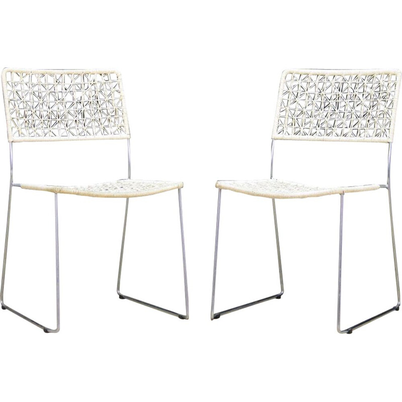 Pair of vintage dining chairs in aluminum scandinavian 1970