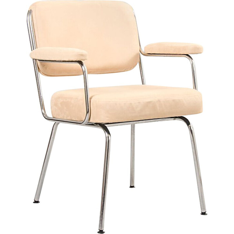 Vintage Tubular Steel and Pink Fabric Desk Chair from Herpesa, Spain, 1970