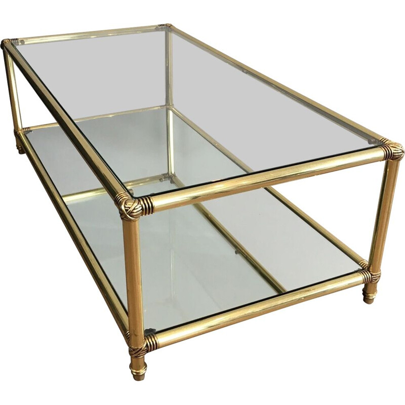 Vintage Brass coffee table with decorative knots 1970