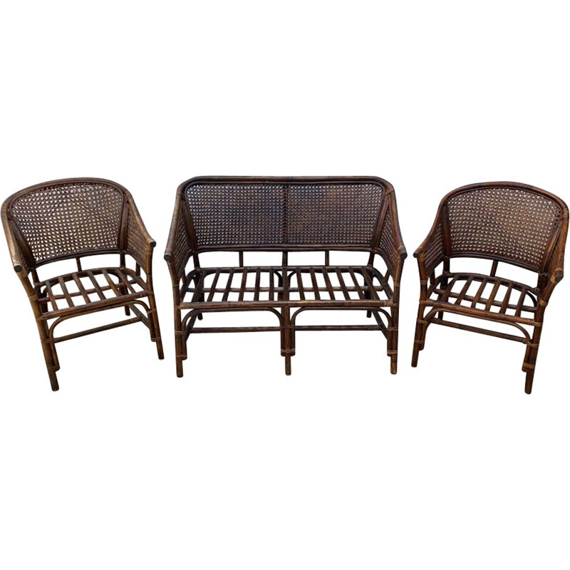 Vintage wickerwork lounge set 2 armchairs and Rattan 1 bench 1970