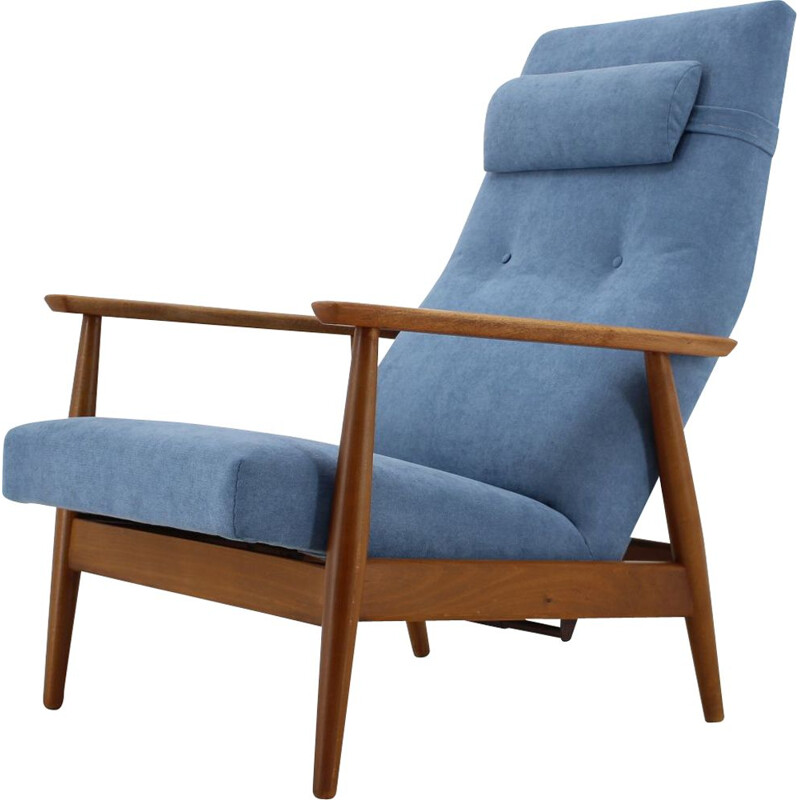 Vintage Beech Reclining Easy Chair Danish 1960s